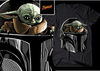 Baby Yoda 2 The mandalorian PNG t shirt design for download