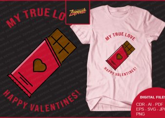 True Love Valentines commercial use t-shirt design