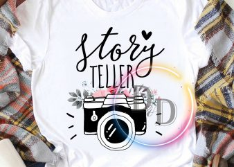 Story Teller Camera Flower Cute vintage T shirt design