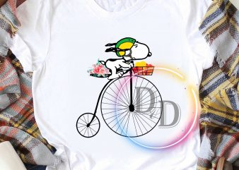 Snoopy Dog bicycle Heart Flower Valentines T shirt Woman's day Gifts