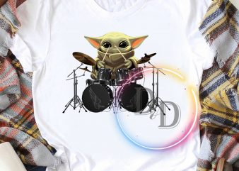 Baby Yoda play drum music rock T shirt design