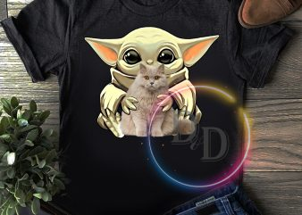 Baby Yoda hug cat T shirt design