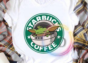 Baby Yoda Starbucks coffee logo funny T shirt