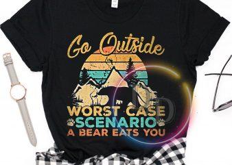 Go outside Worst case Scenario a bear eats you vintage t shirt