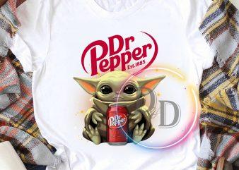 Baby Yoda Dr Pepper drink T shirt design