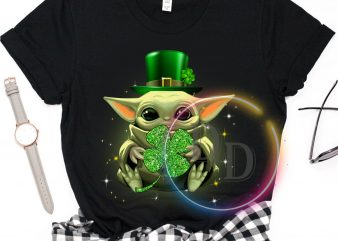 Baby Yoda Shamrock Green Irish Patrick's Day T shirt design
