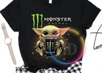 Baby Yoda Monster Energy Drink Funny T shirt design