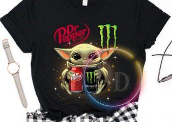 Baby Yoda Dr Pepper & Monster energy drink funny T shirt design