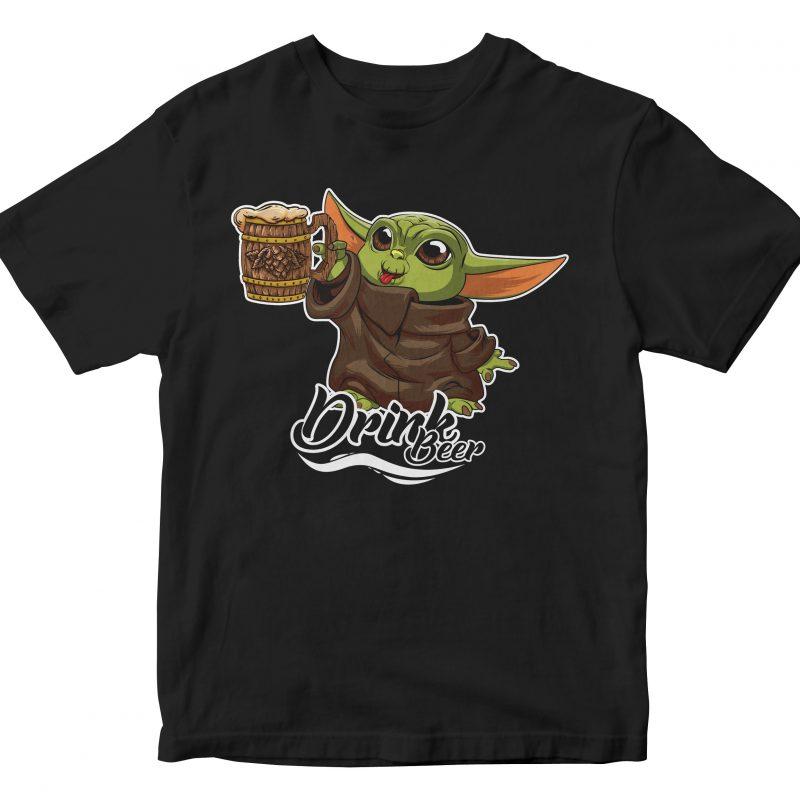 baby yoda the mandalorian drink beer t shirt designs for printify