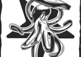 Octopus with a surfing print ready shirt design