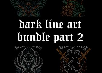dark line art bundle part2 tshirt design