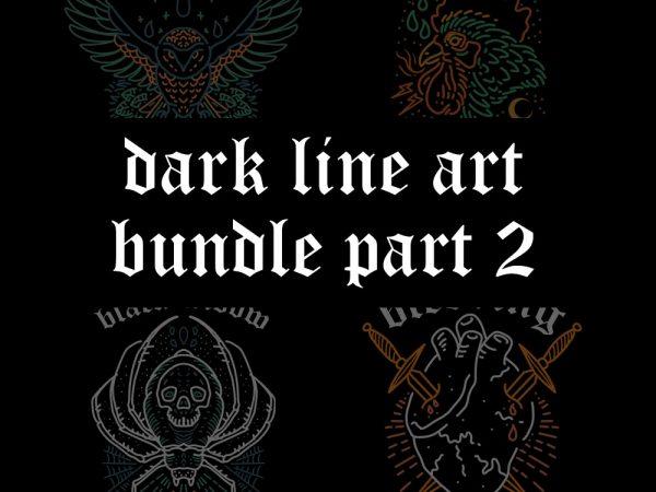 dark line art bundle part2 tshirt design