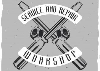 Repair parts label 2 print ready shirt design
