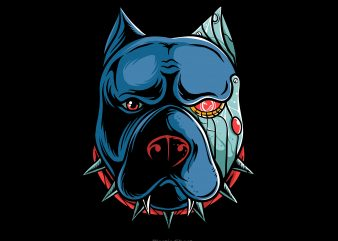 Pitbull cyborg t shirt illustration