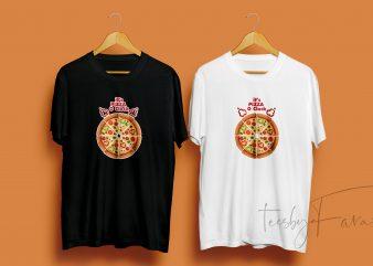 Pizza O Clock print ready t shirt design