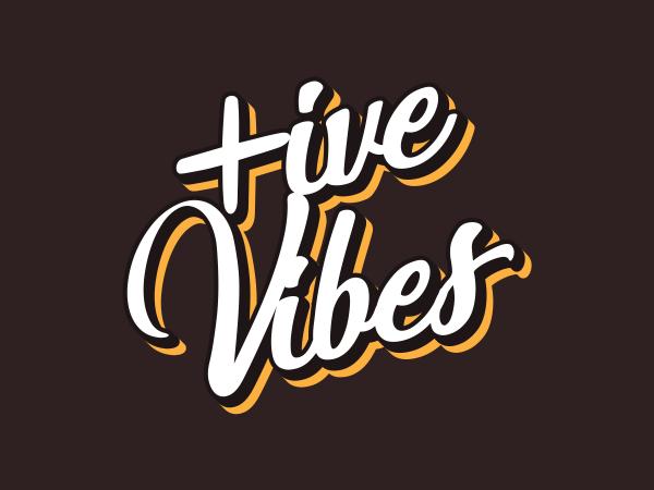 Positive Vibes Retro Style T Shirt Design