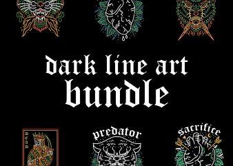 dark line art bundle tshirt design