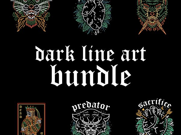 dark line art bundle tshirt design