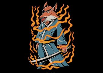 Samurai fox t shirt template vector