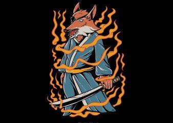 Samurai fox buy t shirt design artwork