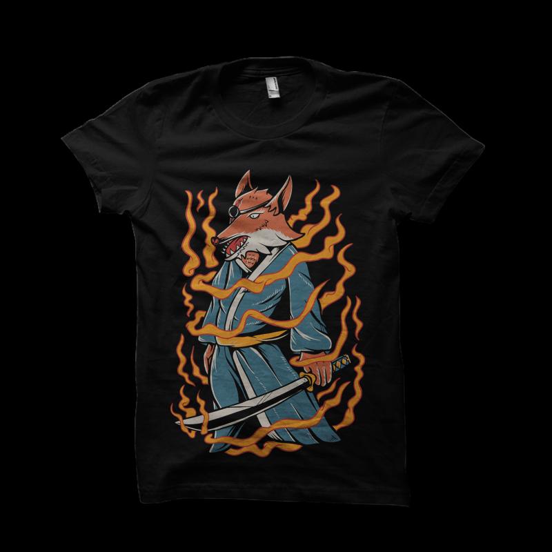 Samurai fox t shirt design graphic