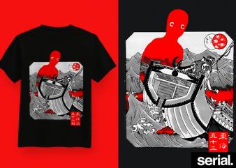 ◍ ɢʜᴏꜱᴛ ꜱʜɪᴘ ◍ Japanese Streetwear Graphic T-Shirt Design
