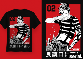 ◍ ɪᴄᴏɴɪᴄ ᴛᴡᴏ ◍ Japanese Anime Waifu Graphic T-shirt Design
