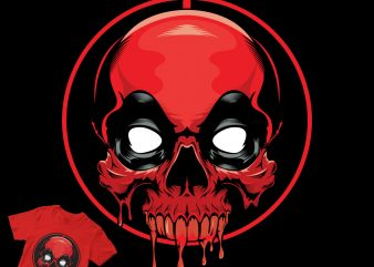 skull head deadpool shirt design png