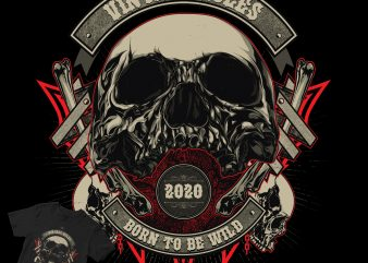 VINTAGE RULES SKULL HEAD DESIGN t shirt design template