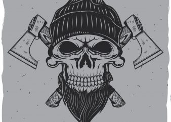 Skull with axes vector shirt design