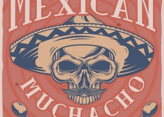 Sombrero skull T-shirt design