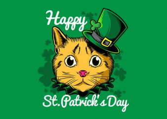 Cat st patrick day t shirt template vector