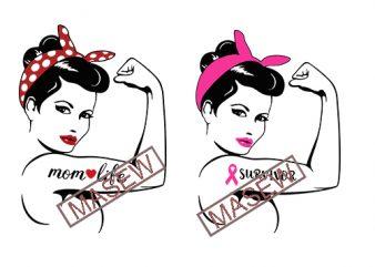 Rosie The Riveter svg, Rosie svg, Rosie cricut, Breast cancer svg, Cancer svg, Pink ribbon svg, Riveter svg, Feminist svg, Survivor svg, mom life EPS SVG PNG DXF digital download t shirt design to buy