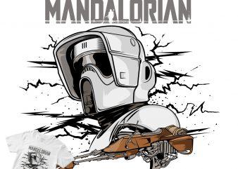 the mandalorian, enemy baby yoda commercial use t-shirt design