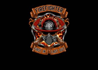Fire Fighter graphic t-shirt design