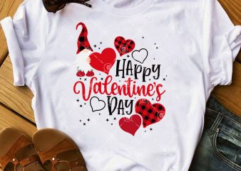 Valentine's Day SVG, Buffalo Plaid Gnome Valentine SVG, Couple Gnome SVG commercial use t-shirt design