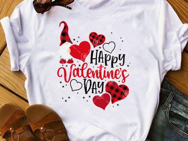 Valentine's Day SVG, Buffalo Plaid Gnome Valentine SVG, Couple Gnome SVG t shirt vector art