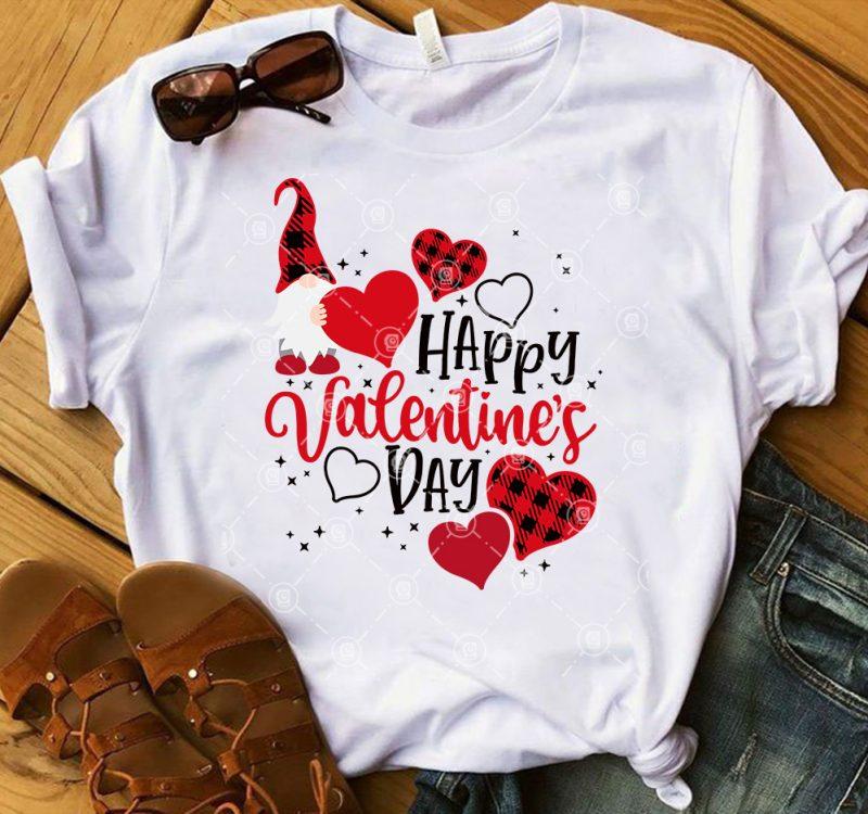 Valentine's Day SVG, Buffalo Plaid Gnome Valentine SVG, Couple Gnome SVG buy t shirt designs artwork