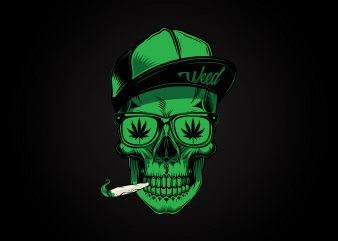 Vector skull with weed joint Premium T Shirt design