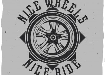 Motorcycle's wheel print ready shirt design