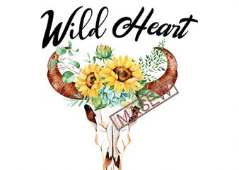 Wild Heart svg, Cow Skull svg, Sunflower, Boho, Hippie, EPS SVG PNG DXF digital download t shirt design for sale