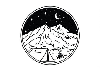 Night Camping t shirt design for download