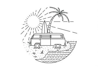 Van and Beach t shirt design to buy