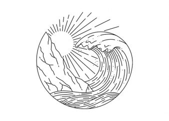 Wave and Cliff t-shirt design for commercial use