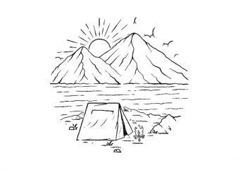 Camping Lake Mountain t shirt design to buy
