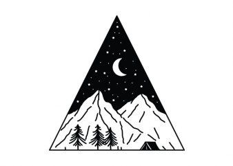 Night Camping Triangle t shirt design for sale