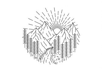 Mountain and River shirt design png
