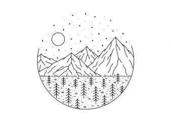 Mountain and Trees ready made tshirt design