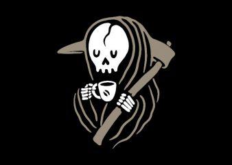 Grim Reaper Love Coffee t-shirt design png