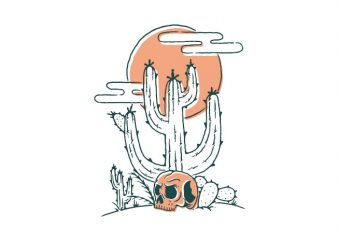 Skull and Cactus t shirt design for sale